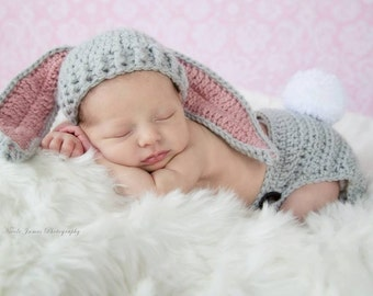 Bunny Hat & Diaper Cover Set - Baby Bunny Hat - Newborn Bunny Hat - Bunny Photo Prop