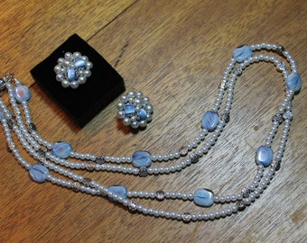 Vintage faux pearl & blue moonstone clip on earrings paired with a new faux pearl and glass bead double strand necklace.
