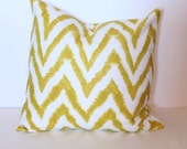SLIGHT FLAW* ONE - 18 x 18 Pea Green Diva Chevron Pillow Cover - Premier Prints