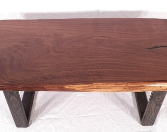 Walnut Slab Coffee Table Rustic Reclaimed Live Edge Hand Made in USA