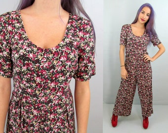 Floral 90's Jumper 90's Romper Vintage Jumpsuit 80ss Jumpsuit Sexy Romper Grunge Dress 80s Romper 80's Onesie Sexy Jumper Medium Made in USA