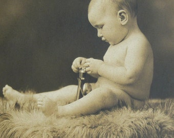 Vintage B&W Photograph Baby On Fur Blanket Purdy Of Boston