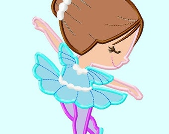Ballerina Brown Hair Applique Embroidery Design    INSTANT DOWNLOAD