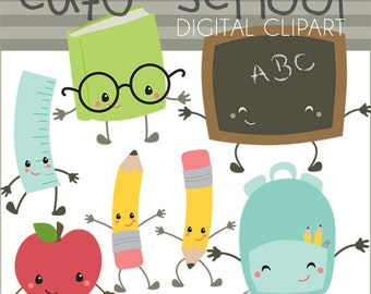School Clipart -Personal and Limited Commercial Use- School Days Clip Art, crayons, pencil, school bus, kawaii clip art