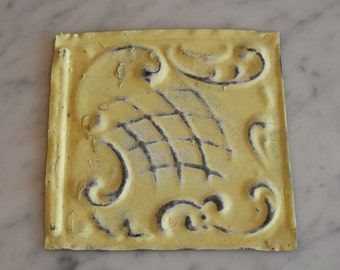 One Upcycled Antique Architectural Ceiling Tile - Pale Yellow Scroll Motif