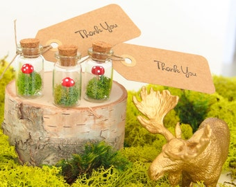 Wedding Favor Terrarium, Mini Woodland Favors with Red Toadstools Thank You Gift Tags - 5
