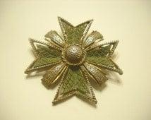 Gold Tone & Olive Green Maltese Cross Brooch (3331)