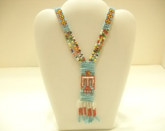 Vintage Beaded Southwestern Necklace (2346) Hand Beaded Souvenir