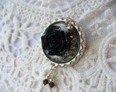 Black Rose Cabochon and Swarovski Crystal Bottle Cap Brooch, Shabby Chic, Weddings, Pin, brooch, Cabochon jewelry, Scarf Pin