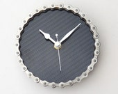 Bike part chain wall or desk clock real carbon fibre guys mans office workshop cycling gift Silver & black