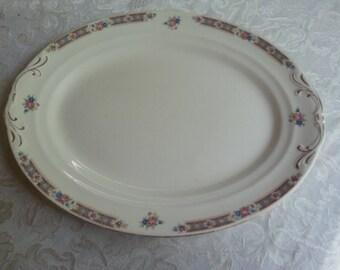 Crown Pottery Platter, Pink Roses Platter, Pink and Blue Vintage Platter
