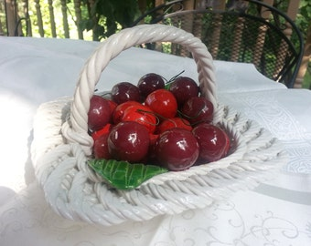 Capodimonte, Cherries in a Basket, madein Italy