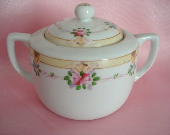 Vintage Nippon Sugar Bowl Hand-painted Pink Rose Shabby Cottage Chic