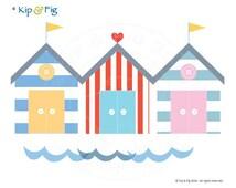 Beach Hut applique template - PDF applique pattern