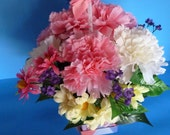 Floral Arrangement, Beautiful Bouquet of Pink and White Carnations in a Unique Box.