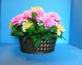 Floral Arrangement, Silk Flowers, Bouquet of Pink and White Carnations and Yellow Azaleas in a Metal and Woven Bamboo Basket.
