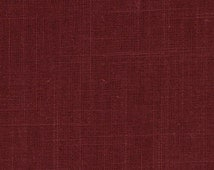 Dark Red Linen Upholstery Fabric - Solid Color Fabric - Red Drapery by the Yard - Red Linen Curtain Material - Linen Headboard Fabric