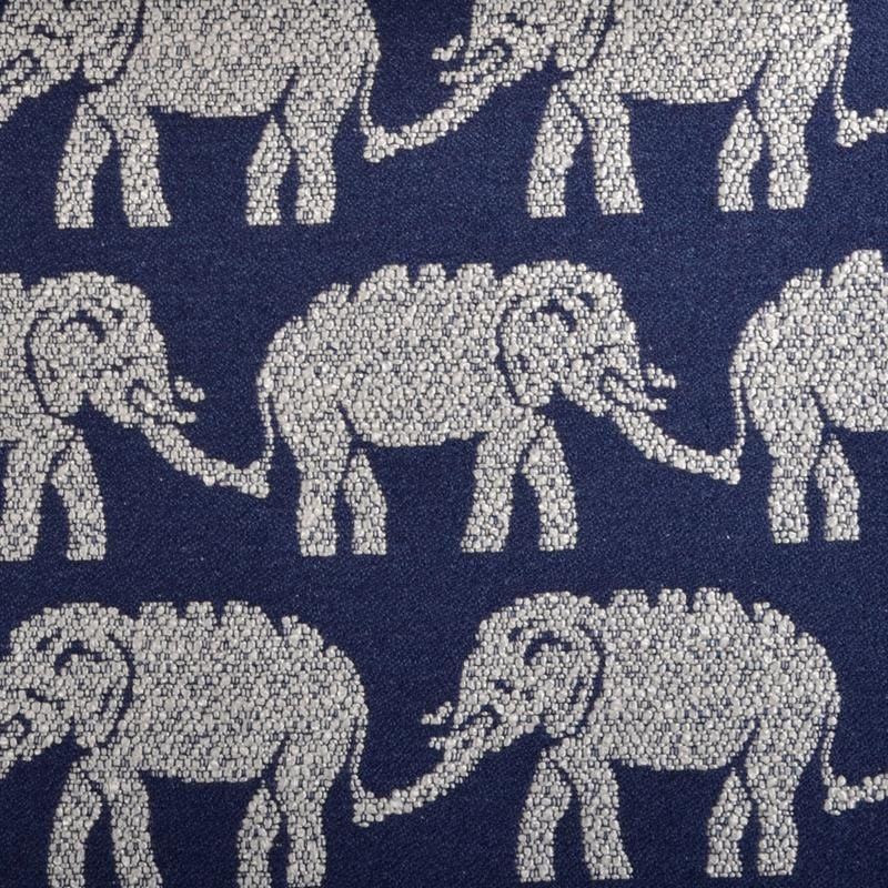 Elephant upholstery fabric modern navy blue fabric animal for Elephant fabric