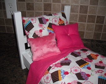 4-piece Bedding set Pink cupcakes  fits American Girl doll beds