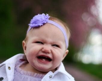 Lavender Flower Headband. Shabby Flower Headband. Baby Headband. Girl Headband. Newborn Headband. Photo Prop. Light Purple Headband