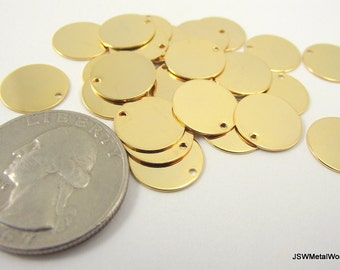 Shiny Gold Round Charms, Round Tag, Blank Discs, Stamping Blanks, 12 mm