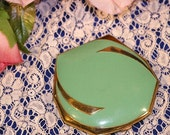 ON SALE Vintage Jade Green Enamel and Gold Art Deco Rouge and Powder Compact