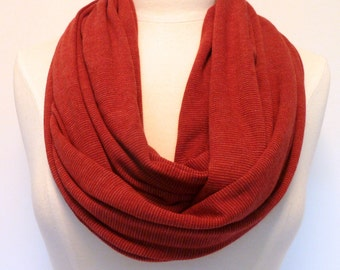 SALE ! LAST ONE ! Brick Red  Infinity Scarf - Red Eternity Scarf - Loop Scarf - Red Circle Scarf - Handmade