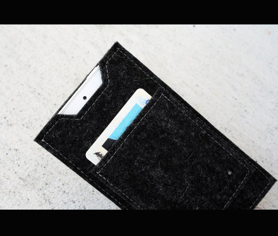 Iphone or Ipod wool felt mini wallet - dark grey charcoal