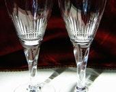 2) STUART CORONATION WINE Clarets Vintage Crystal Glasses  Discontinued Pattern circa 1950s