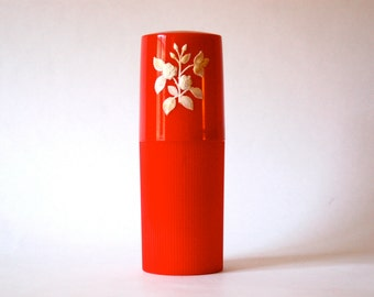 Red Plastic Container with Roses