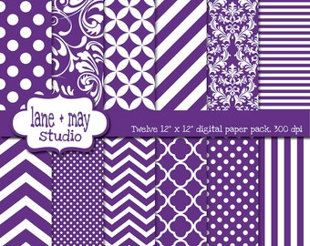 digital scrapbook papers - purple and white variety pack - INSTANT DOWNLOAD