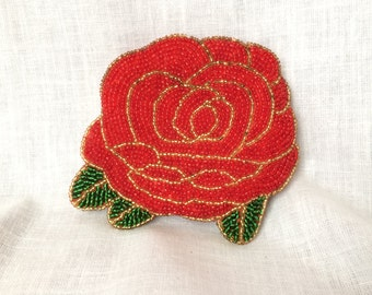 Vintage Red Rose Beaded Jewelry Coin Pouch