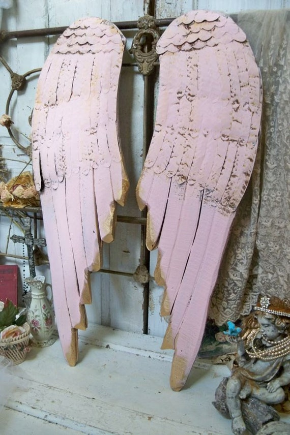 Wood Wings Wall Decor : Large wooden wings pink wall decor carved wood metal sculpture