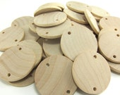 "50 Unfinished Wood Discs Coins Circles with Holes - Birthday board Tags - 1.5"" (3.8cm) Diameter Pendant"
