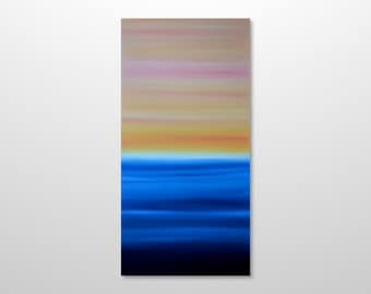 Large 18 x 36 Abstract Seascape Painting - Original Modern Canvas Acrylic Wall Art Decor - Blue Ocean, Yellow Pink Sunrise - Vertical Tall