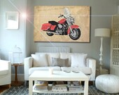 Harley Davidson Newspapers Collage, Art Print 12x7.50in to 60x41in, Motorcycle Art print, big size print, large wall print, office decor