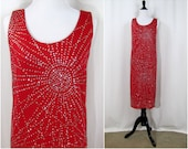 Vintage Dress | 1970s | Patra Red Party Dress with Sunburst Sparkles | Small