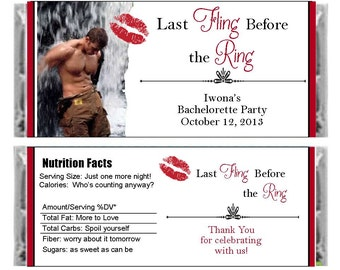 Personalized super sexy, bachelorette party candy bar wrappers - set of 6