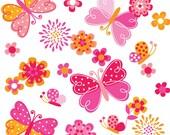 Butterfly Garden/ Digital Clipart/ Instant Download