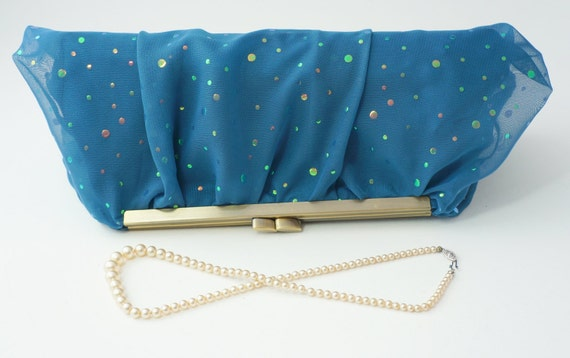 Peacock Chiffon Clutch Evening Handbag - Includes Crossbody Chain - Ready to Ship