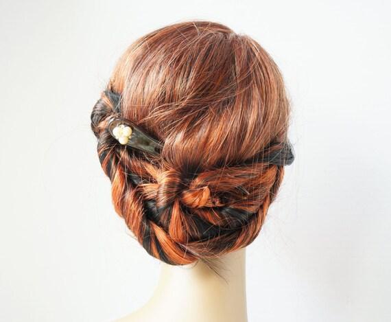 Vintage Ivory Pearl & Rhinestone Chignon Bridal/Wedding Hairpin