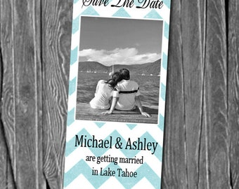 50, 100 or 150  Photo Save the Date Bookmarks, Great Keepsakes for your guests,  Any Color