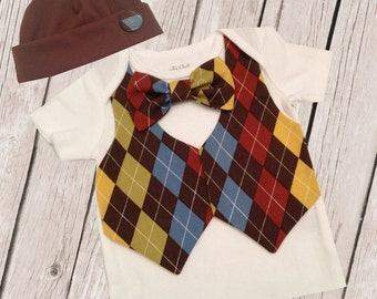 Boys Argyle Coming home Vest and Tie body suit with Hat