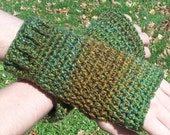 crocheted handwarmers (greens and browns)