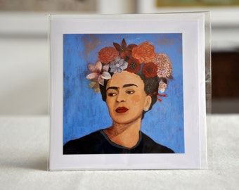 "BURN IT BLUE / Frida Kahlo / Greeting Card with envelope (5x5"") / xmas cards / christmas cards"