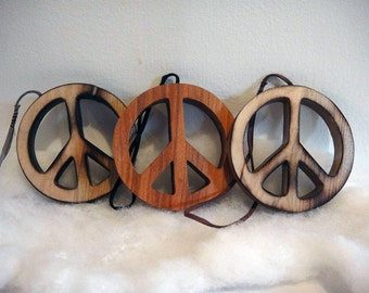 60s 70s Peace Love Hippie Wood Art Carving Ornament Wall Hanging