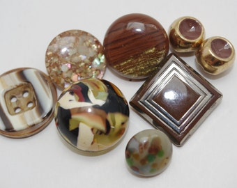 8 Vintage Buttons Brown Lot of Plastic & Glass