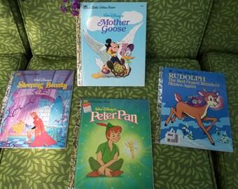 Vintage Little Golden Books  Peter Pan,Rudolph,Sleeping Beauty,Mother Goose,Set of  4 Disney