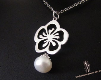 SALE 10% OFF: Sakura Flower Necklace Pearl Necklace Pendant Necklace Jewelry Gift