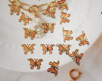 24 Goldplated Citrine Butterfly Pendants